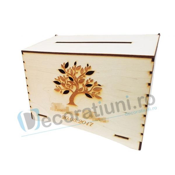 Cutie de dar din lemn - model Copac 0
