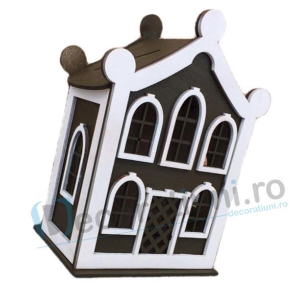 Cutie de dar pentru nunta din lemn - model Dulce Casa 1