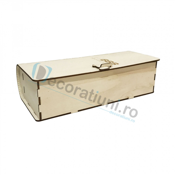 Cutie de vin din lemn de 1 sticla - model carte 2