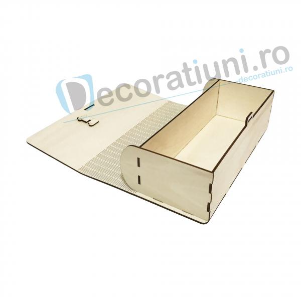 Cutie de vin din lemn de 1 sticla - model carte 4