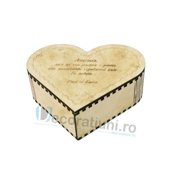 Cutie din lemn in forma de inima - model Amintiri 1