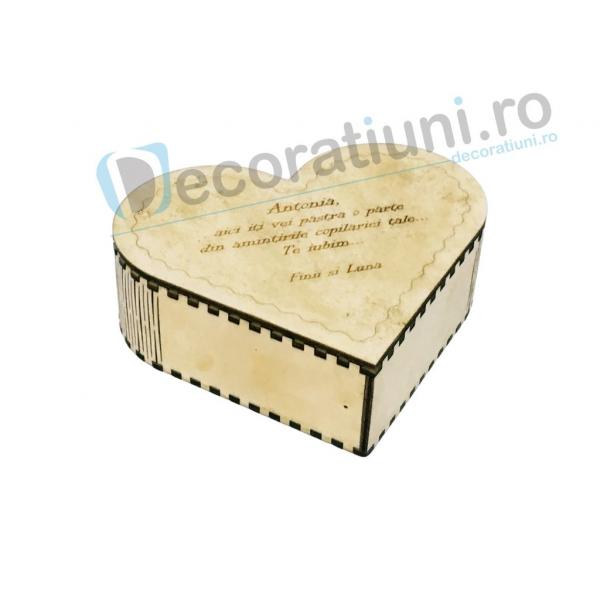 Cutie din lemn in forma de inima - model Amintiri 0