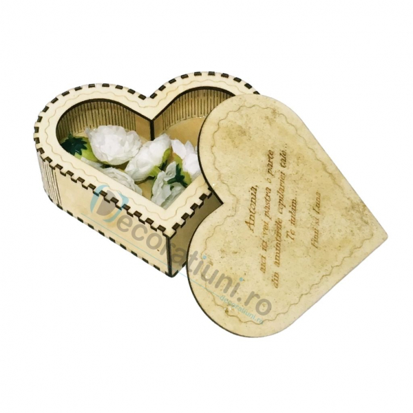 Cutie din lemn in forma de inima - model Amintiri 2