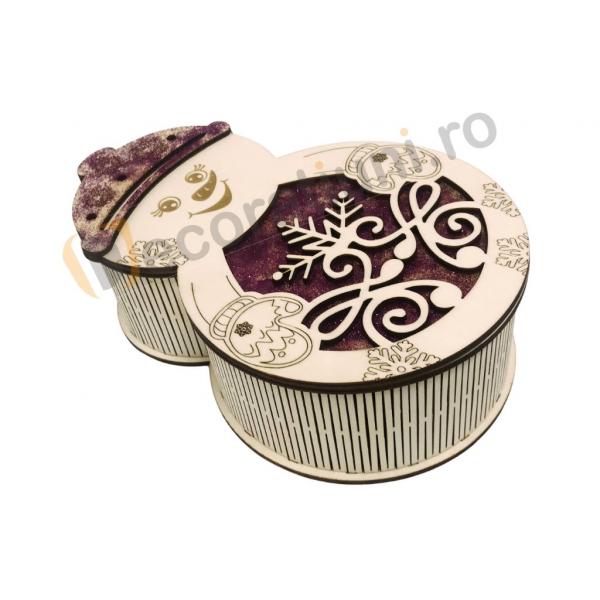 Cutie din lemn pentru cadou de Craciun - model om de zapada 1
