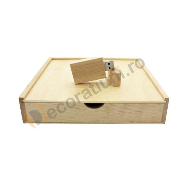 Cutie din lemn pentru fotografii cu stick usb - lemn artar 0