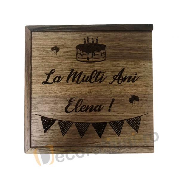 Cutie din lemn pentru fotografii cu stick usb - lemn nuc 5