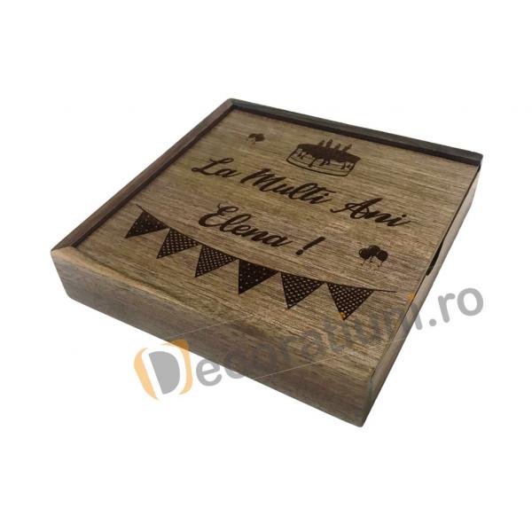 Cutie din lemn pentru fotografii cu stick usb - lemn nuc 3