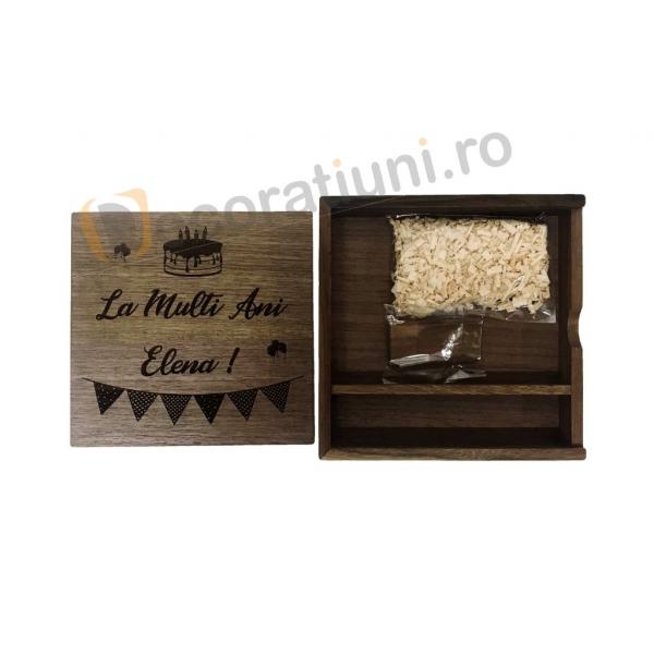 Cutie din lemn pentru fotografii cu stick usb - lemn nuc 2