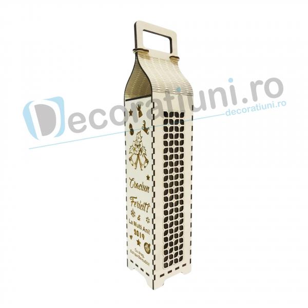 Cutie din lemn pentru sticla de vin - model cu maner 2