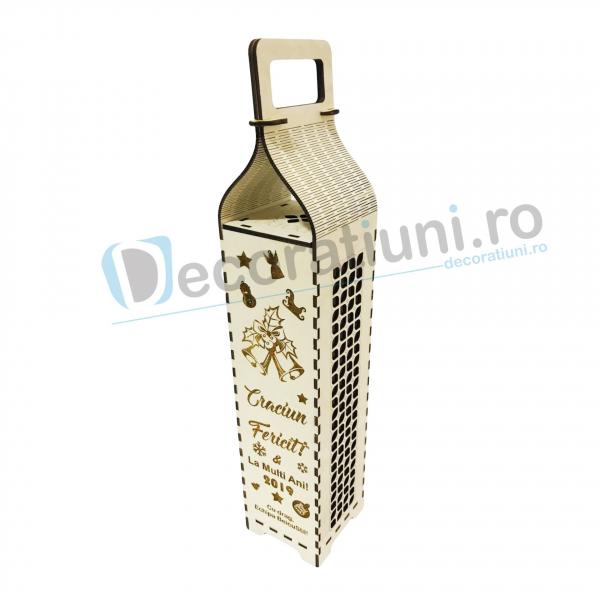 Cutie din lemn pentru sticla de vin - model cu maner 0