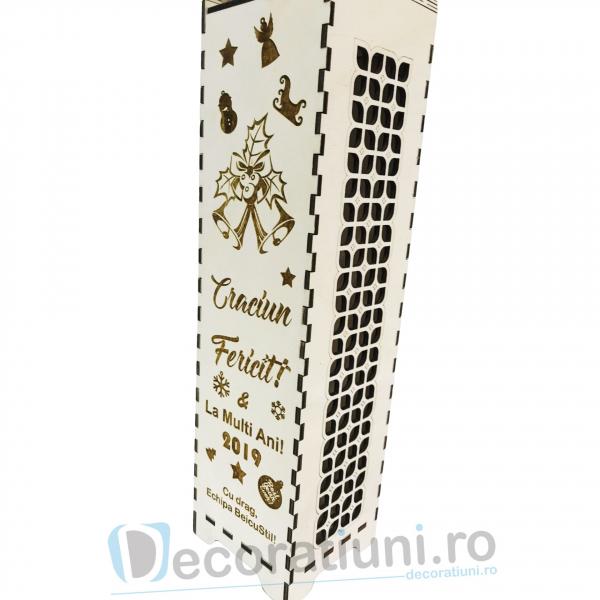 Cutie din lemn pentru sticla de vin - model cu maner 3