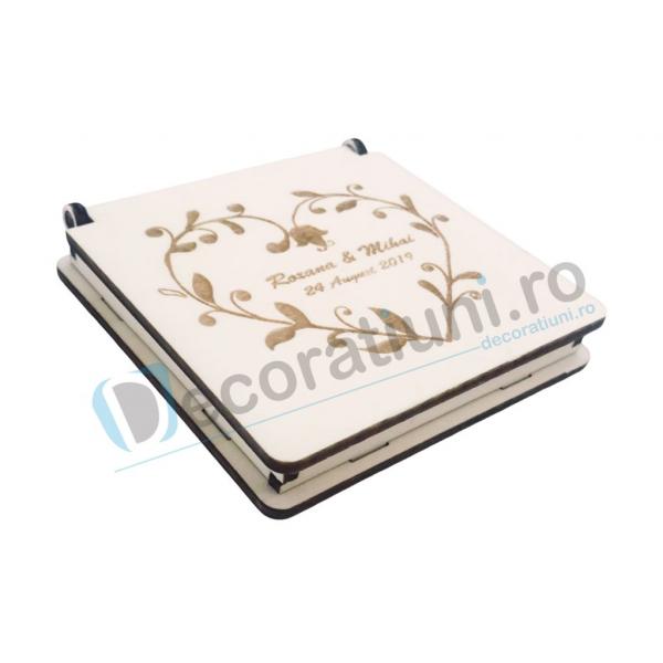 Cutie din lemn pentru verighete - model Inima 0