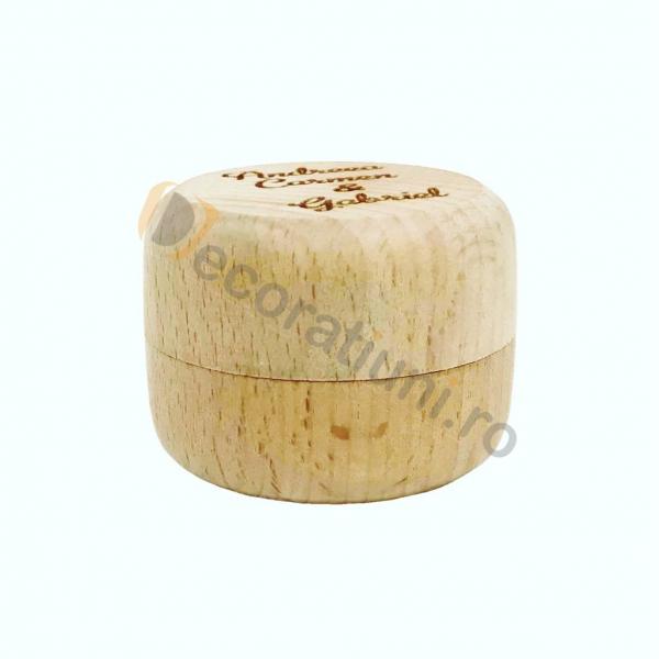 Cutie din lemn rotunda pentru verighete 4