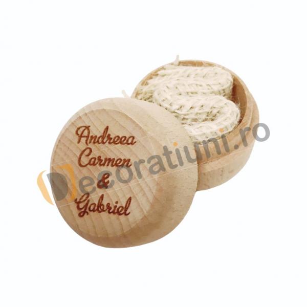 Cutie din lemn rotunda pentru verighete 5