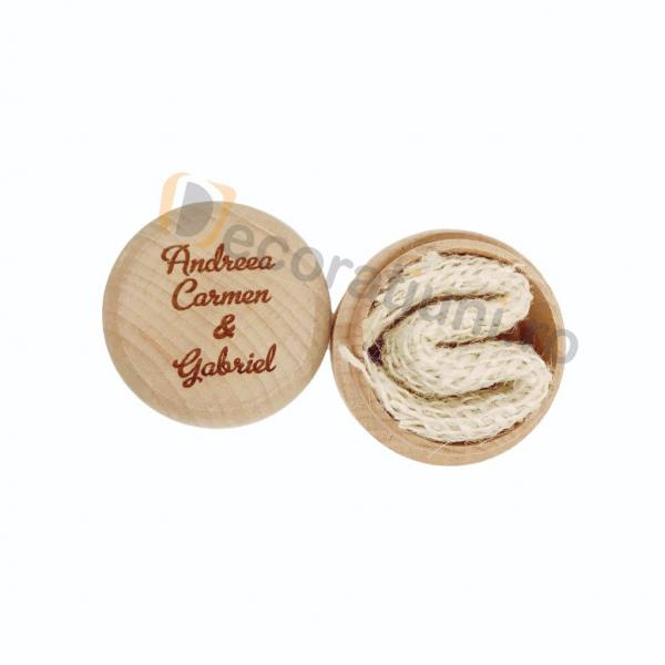 Cutie din lemn rotunda pentru verighete 3