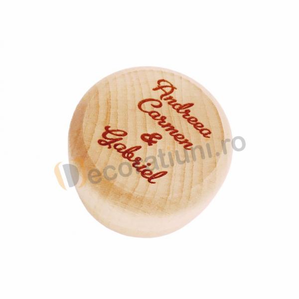 Cutie din lemn rotunda pentru verighete 1