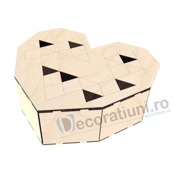 Cutie inima din lemn - Geometric Love 1