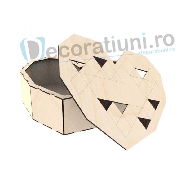 Cutie inima din lemn - Geometric Love 0