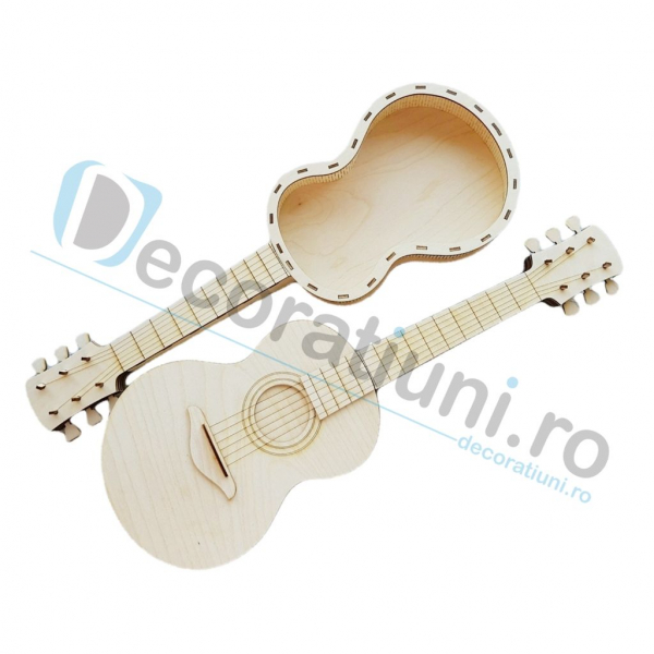 Cutie ornament din lemn - model Guitar 0