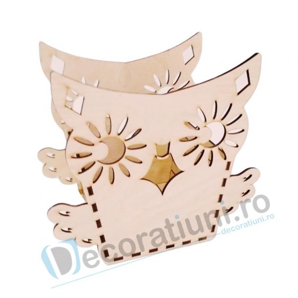 Cutie ornament din lemn - model Owl 0