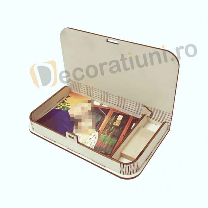 Cutie pentru fotografii si stick usb din lemn 9