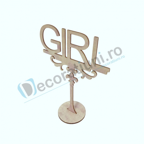 Decoratiune din lemn pentru botez - model GIRL 1