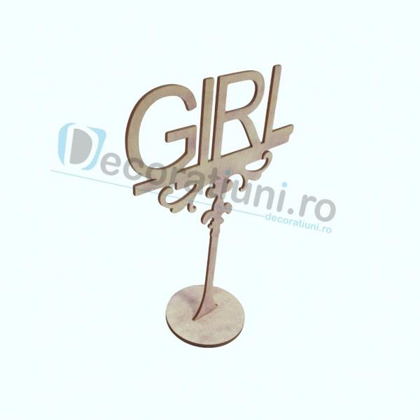 Decoratiune din lemn pentru botez - model GIRL 2