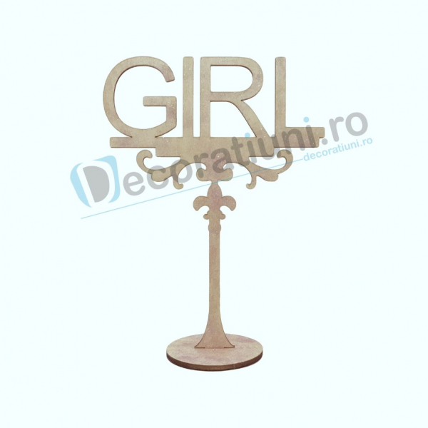 Decoratiune din lemn pentru botez - model GIRL 0