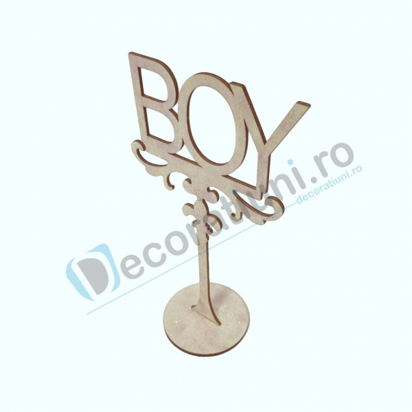 Decoratiune din lemn pentru botez - model BOY 2
