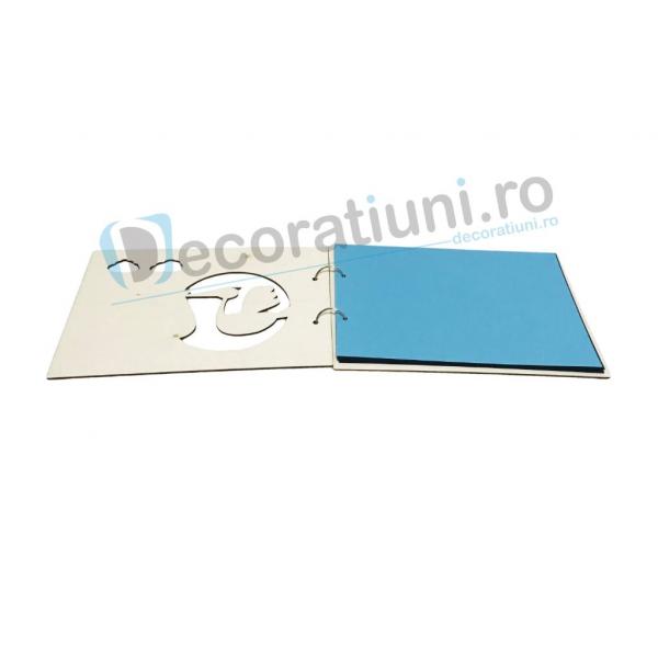 Guestbook din lemn pentru botez - model barza 2