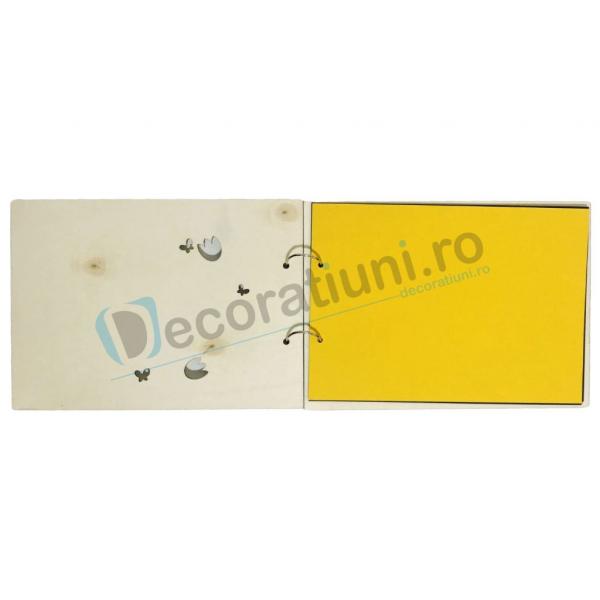 Guestbook din lemn personalizat, guestbook coperti - model ramura cu flori si fluturi [2]