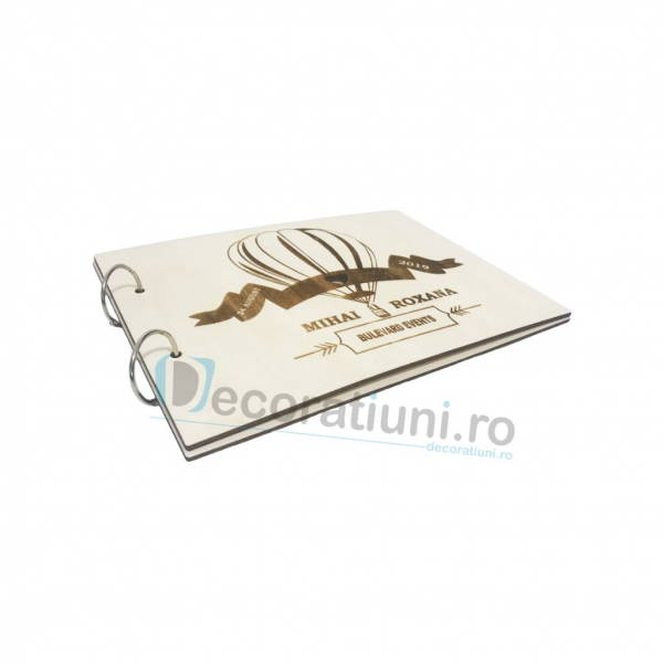 Guestbook din lemn personalizat, guestbook nunta - model balon 2