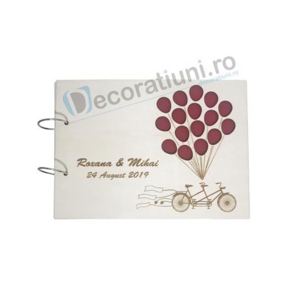 Guestbook din lemn personalizat, guestbook nunta - model bicicleta cu baloane 0