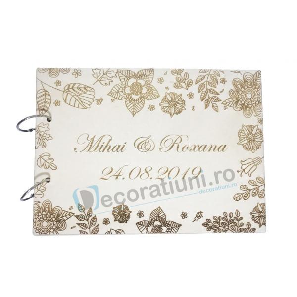 Guestbook din lemn personalizat, guestbook nunta - model cu flori 0