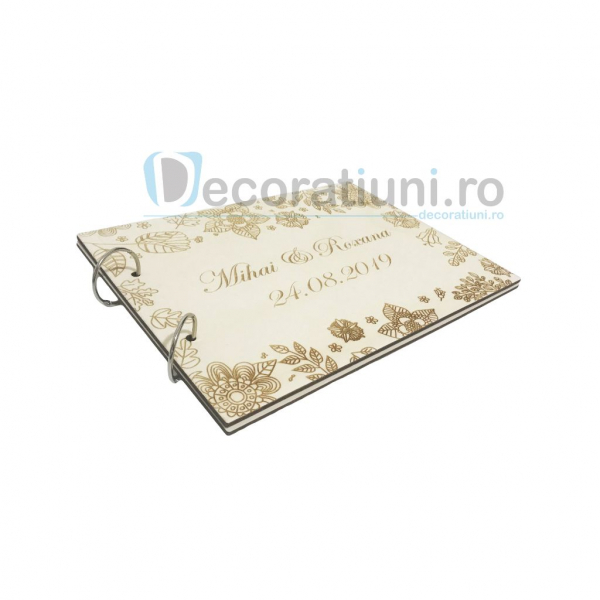 Guestbook din lemn personalizat, guestbook nunta - model cu flori 2