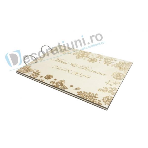 Guestbook din lemn personalizat, guestbook nunta - model cu flori 3