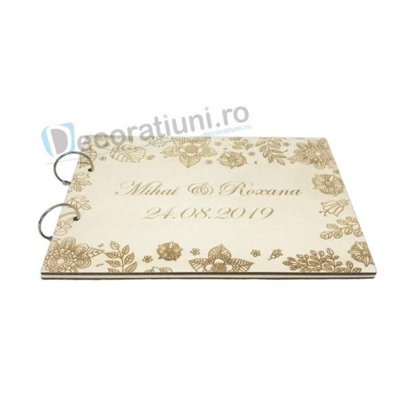 Guestbook din lemn personalizat, guestbook nunta - model cu flori 1