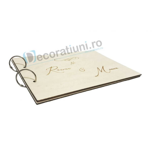 Guestbook din lemn personalizat, guestbook nunta - model iubire infinita 2