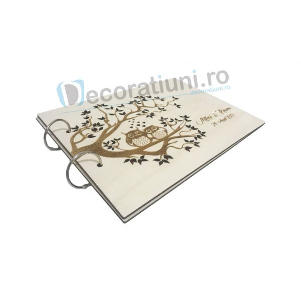 Guestbook din lemn personalizat, guestbook nunta - model pom si bufnite 2