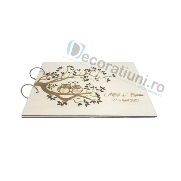 Guestbook din lemn personalizat, guestbook nunta - model pom si bufnite 1