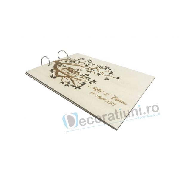 Guestbook din lemn personalizat, guestbook nunta - model pom si bufnite 3