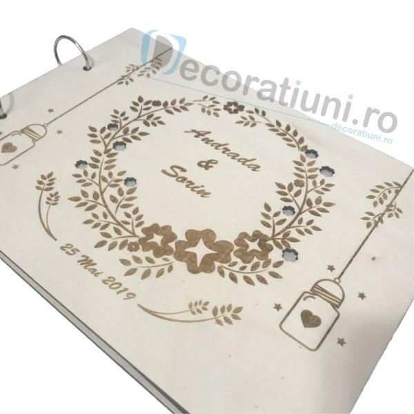 Guestbook din lemn personalizat, guestbook nunta - model ramura cu flori si candele agatate 4