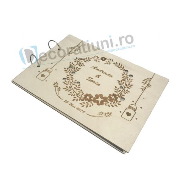Guestbook din lemn personalizat, guestbook nunta - model ramura cu flori si candele agatate 2