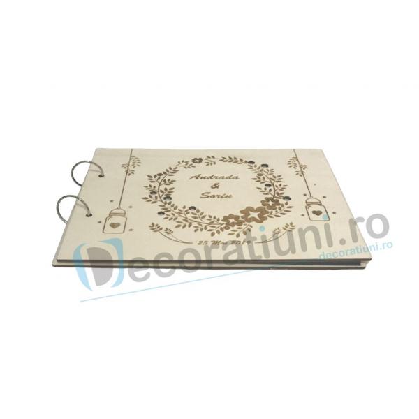 Guestbook din lemn personalizat, guestbook nunta - model ramura cu flori si candele agatate 1