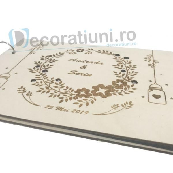 Guestbook din lemn personalizat, guestbook nunta - model ramura cu flori si candele agatate 3