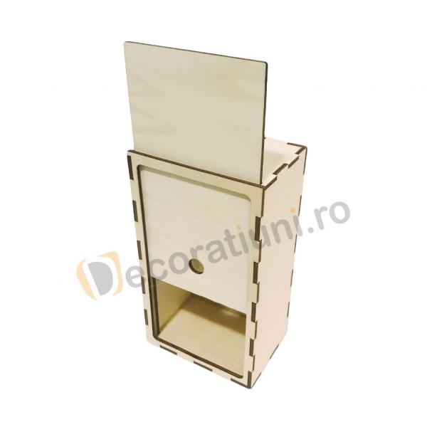 Cutie din lemn dreptunghiulara cu capac pe sina 3