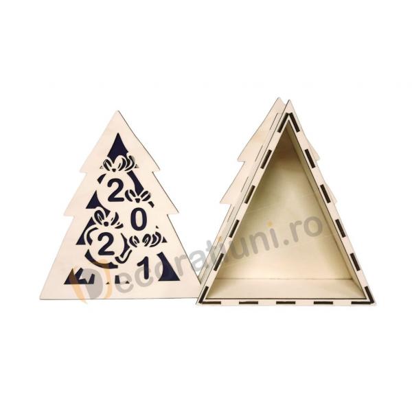Cutie din lemn pentru cadou de Craciun - model bradut 3