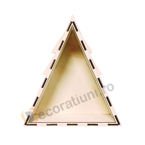 Cutie din lemn pentru cadou de Craciun - model bradut 4