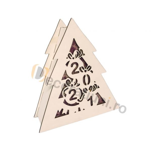Cutie din lemn pentru cadou de Craciun - model bradut 0