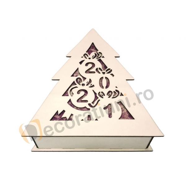 Cutie din lemn pentru cadou de Craciun - model bradut 2